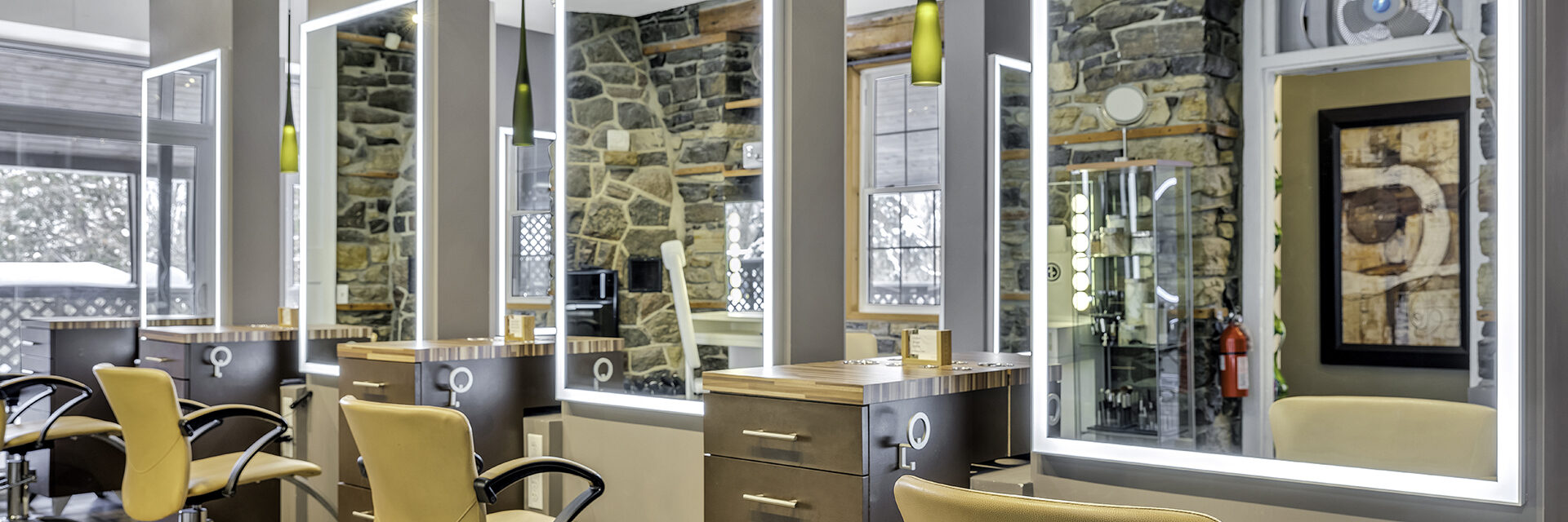 Hair stylist and salon seats at Jask